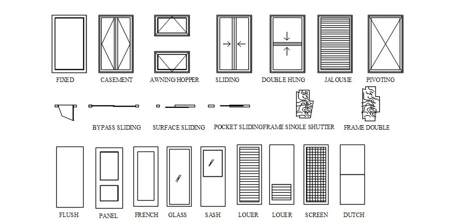 Download Free Doors And Windows Design In AutoCAD File