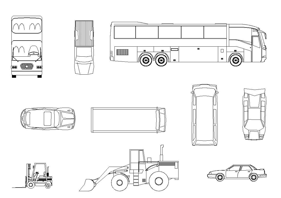 Different Vehicle CAD blocks 2d view layout autocad file