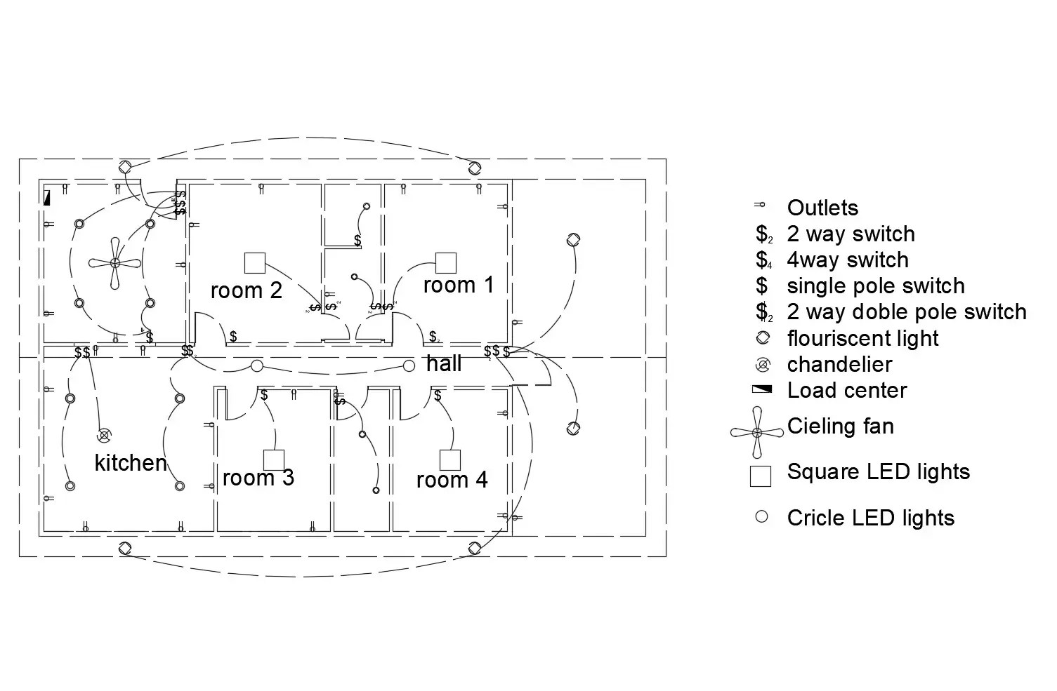 Electric Layout Design Of The House Plan In Dwg File