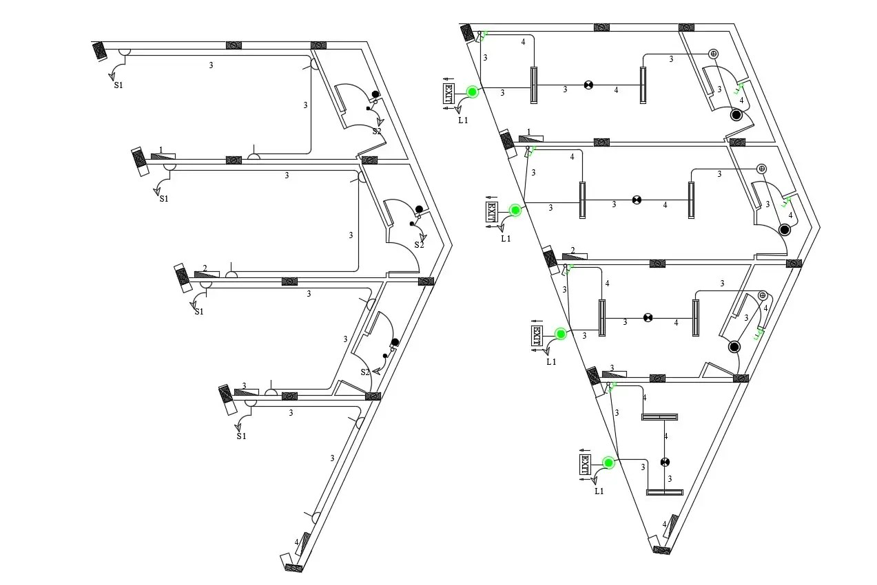 Electrical Plan Of Commercial Building Dwg Cad File