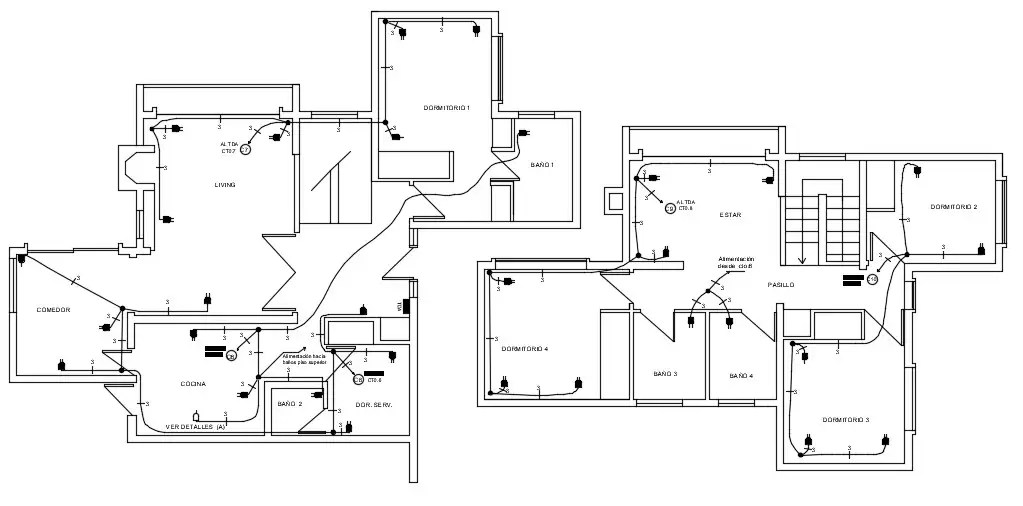 Electrical Plans For Residential House AutoCAD File Free