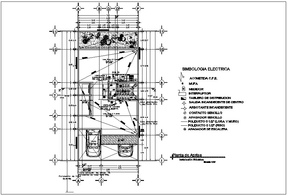 Electrical installation view in roof top plan of house