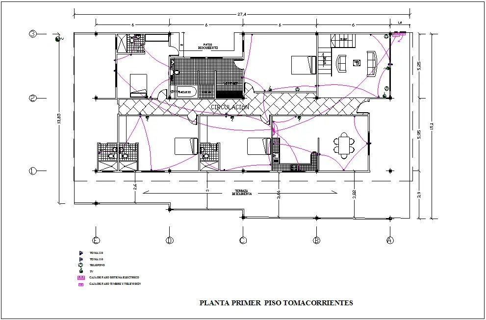 Electrical installation view with its legend of first