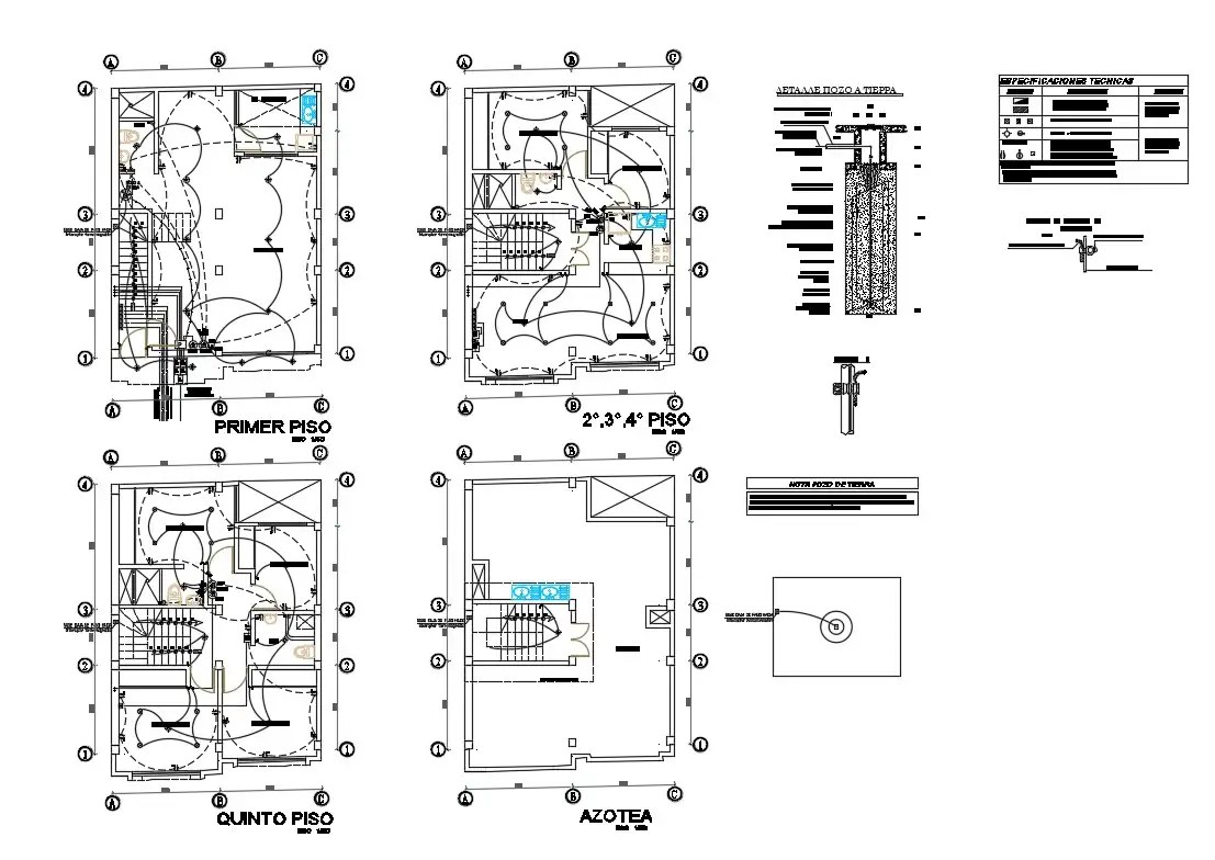 Electrical layout plan details of all floors of apartment