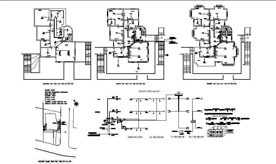 Electrical layout plan details of all floors of villa cad