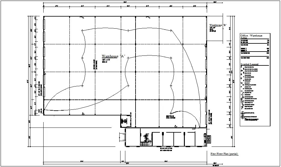 Electrical plan of ware house with electrical legend dwg