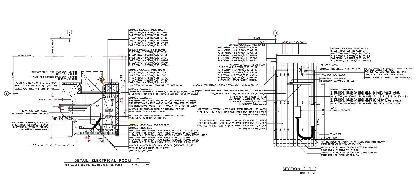 Electrical Wiring Way Instillation Floor Level Drawing DWG