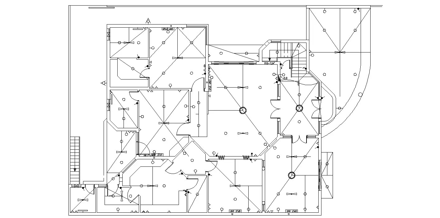 Electrical drawing of3BHK luxury and spacious House plan
