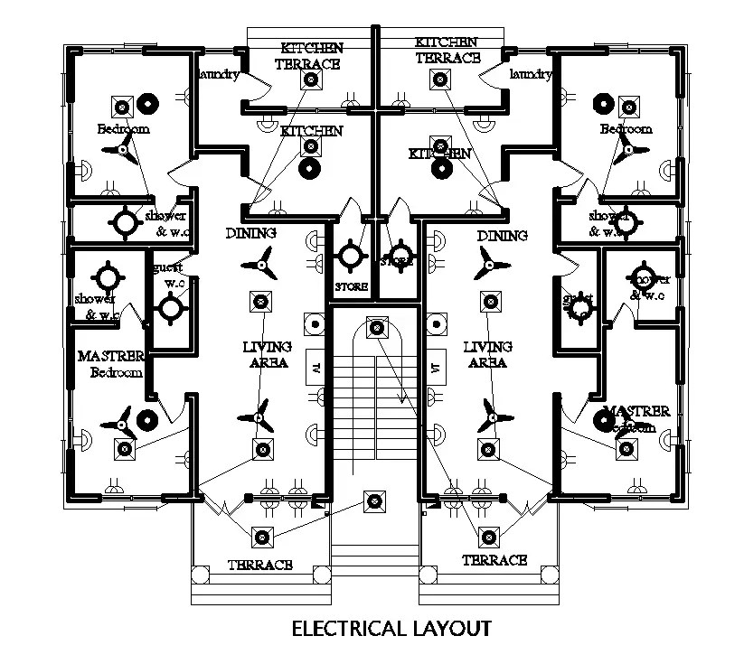Electrical layout of 18x15m floor plan of residential