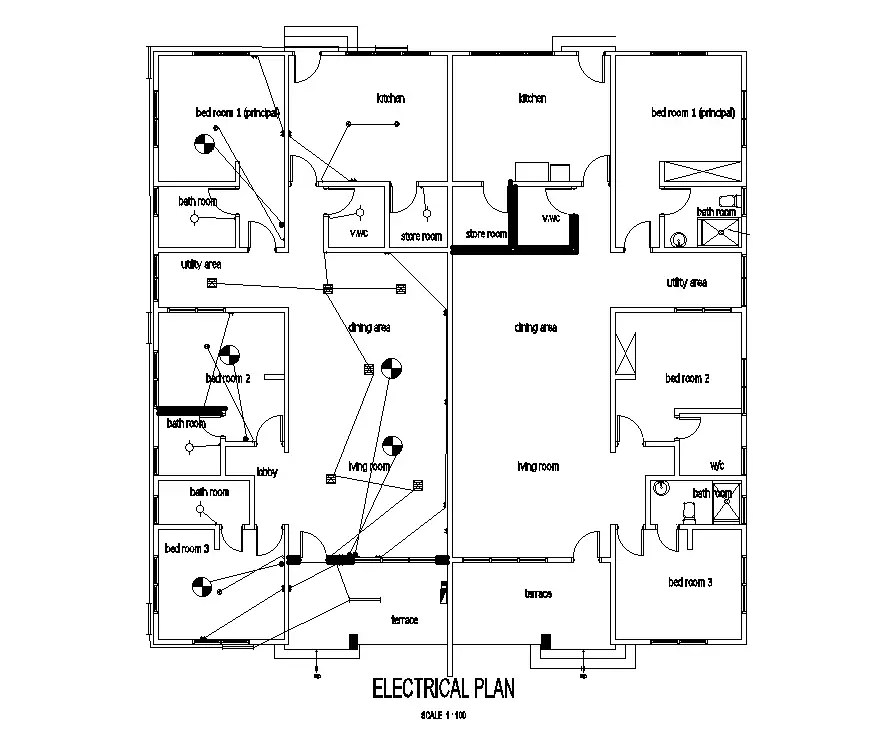Electrical layout of 18x18m residential building plan is