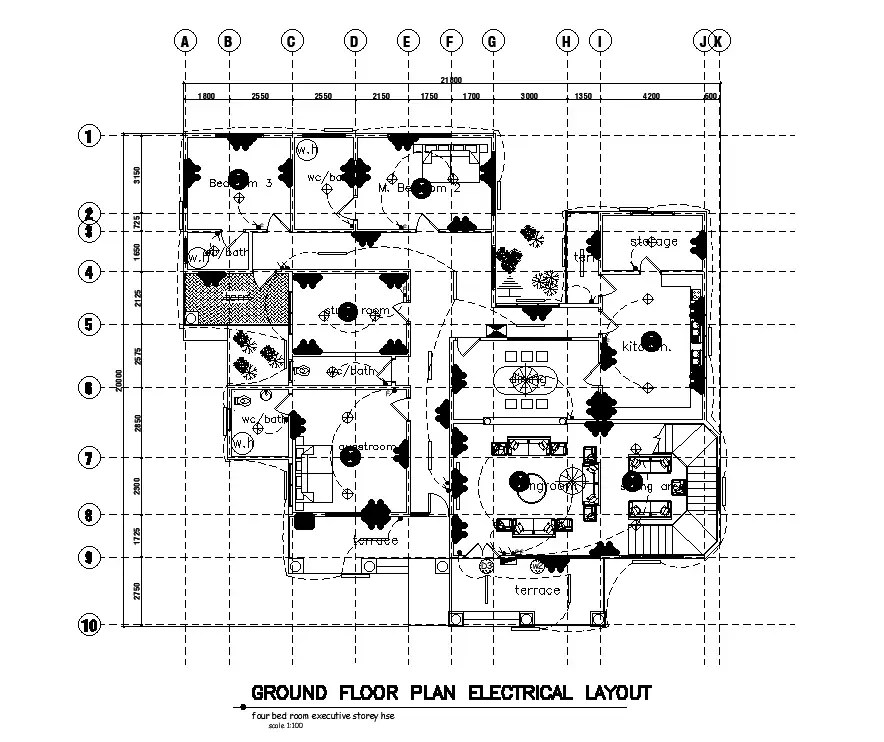 Electrical layout of 22x20m ground floor house plan is