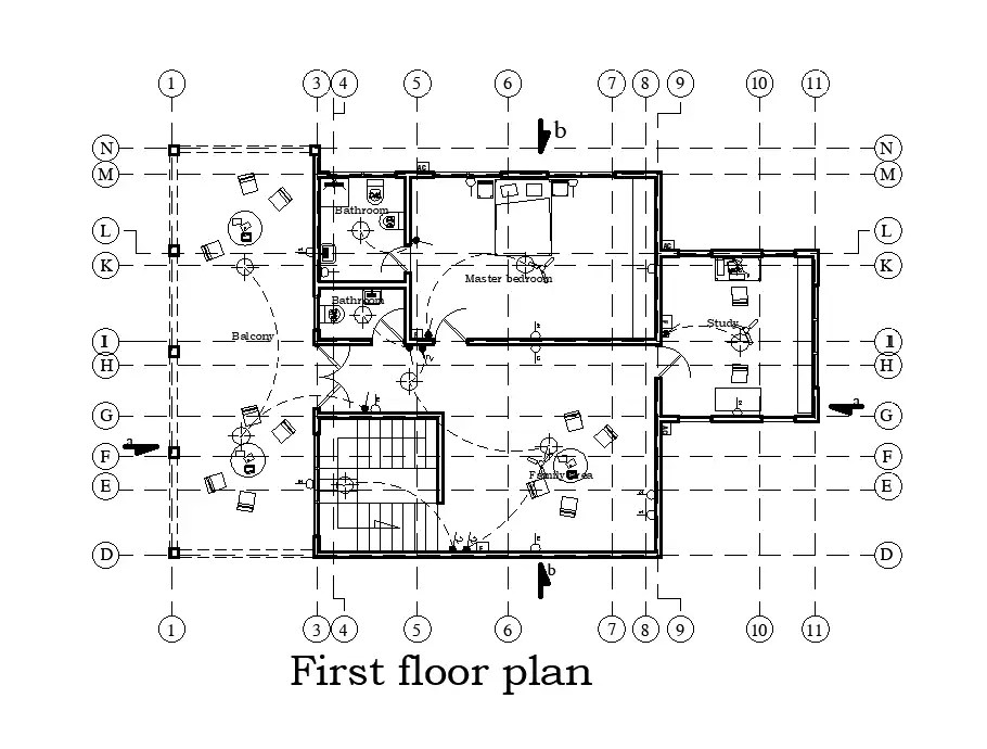 Electrical layout of 25x27m first floor house plan is