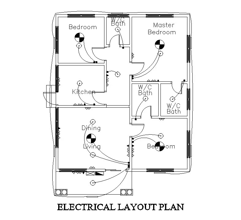 Electrical layout of 8x12m residential house plan is given