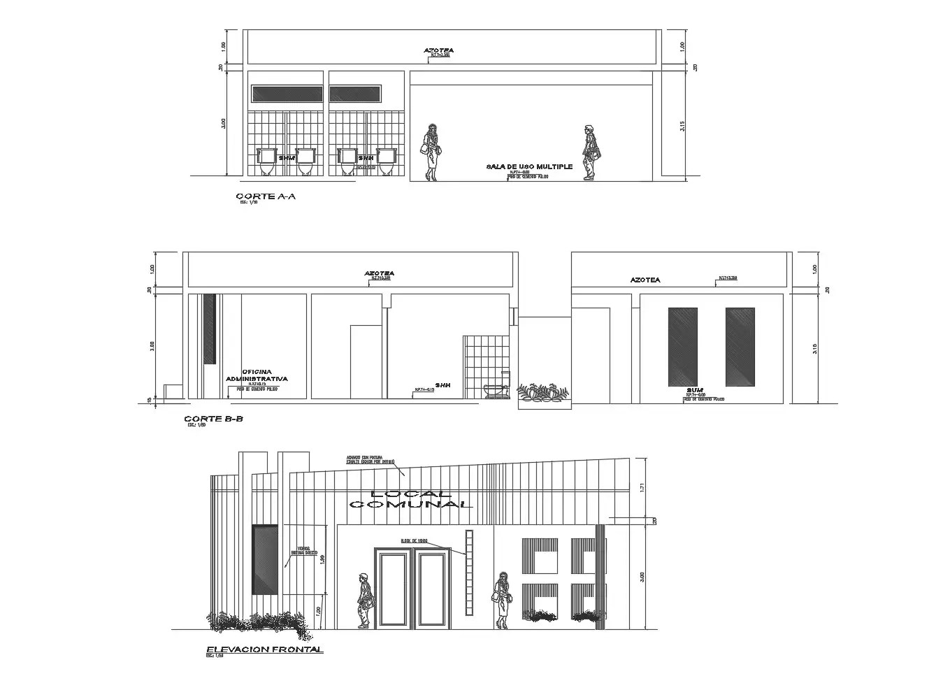 Elevation drawing of the office building with detail