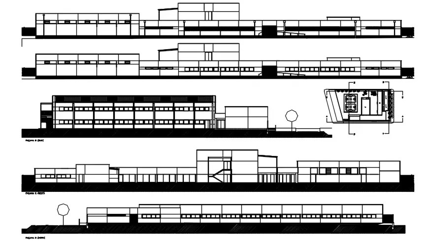 Elevation drawing of the school building with detail