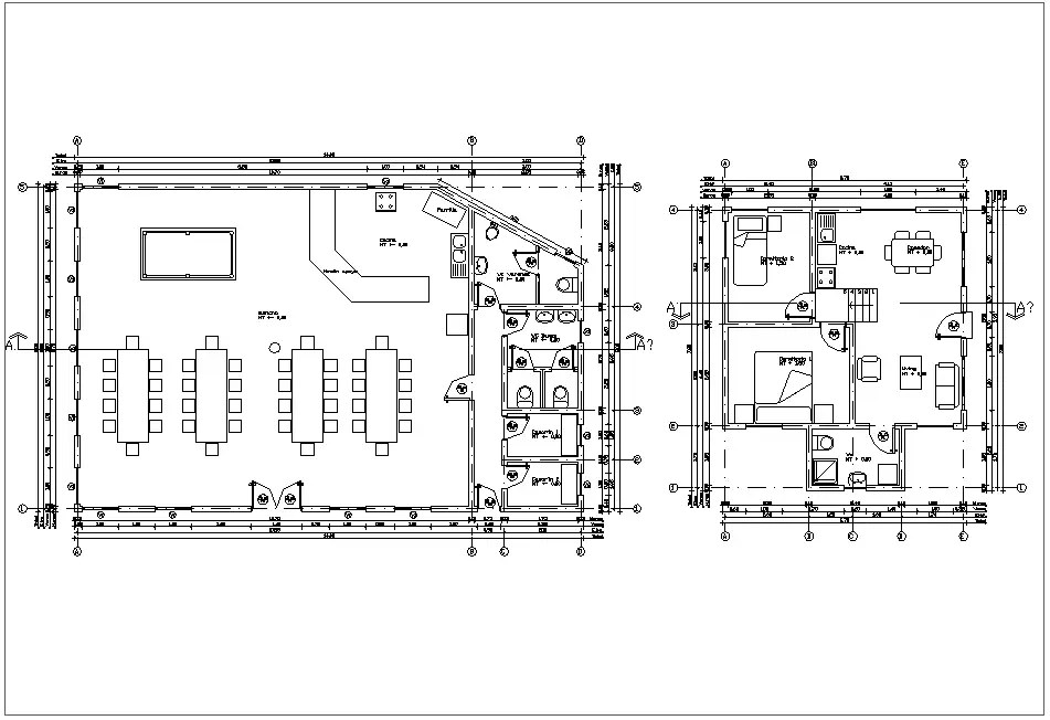 Floor plan of housing area with architecture view dwg file