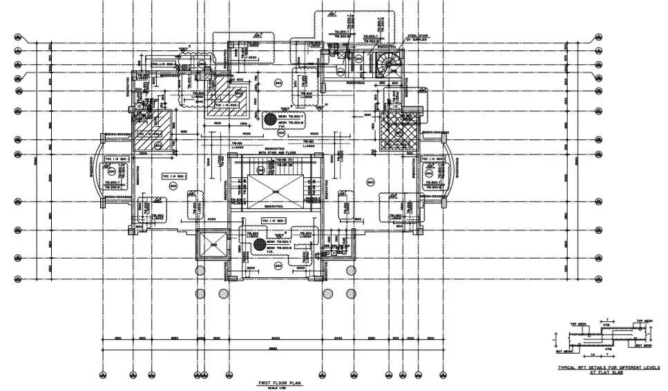 Floor plan with detail of typical rft details for