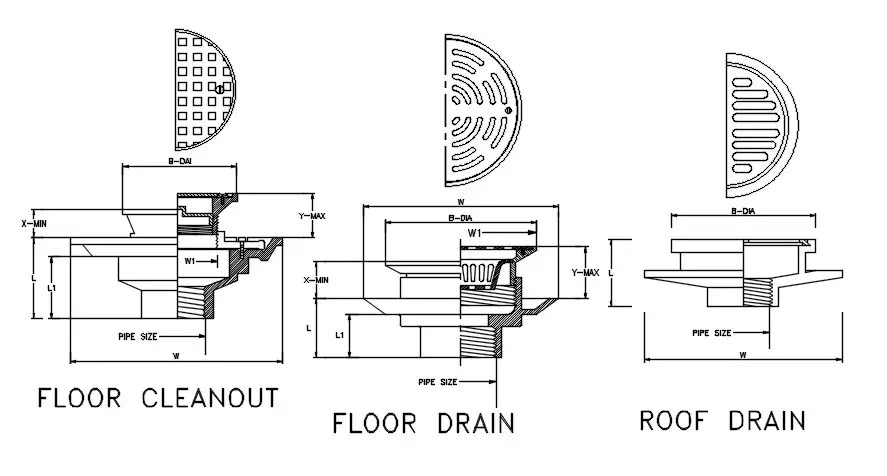 Floor Clean Out Zurn Roof Drain AutoCAD Drawing DWG File