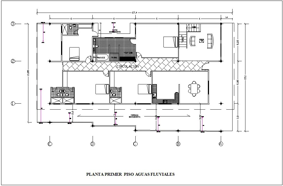 Fluvial water line view of first floor plan for housing