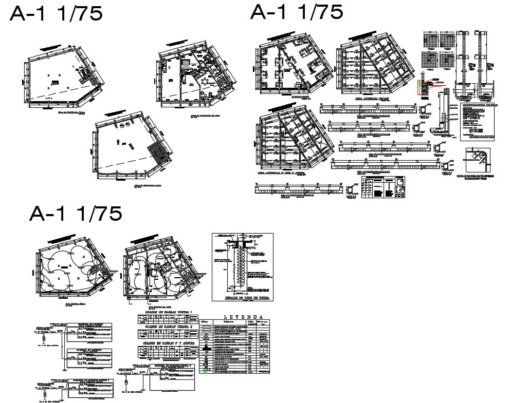 Foundation plan, staircase, beam schedule and construction