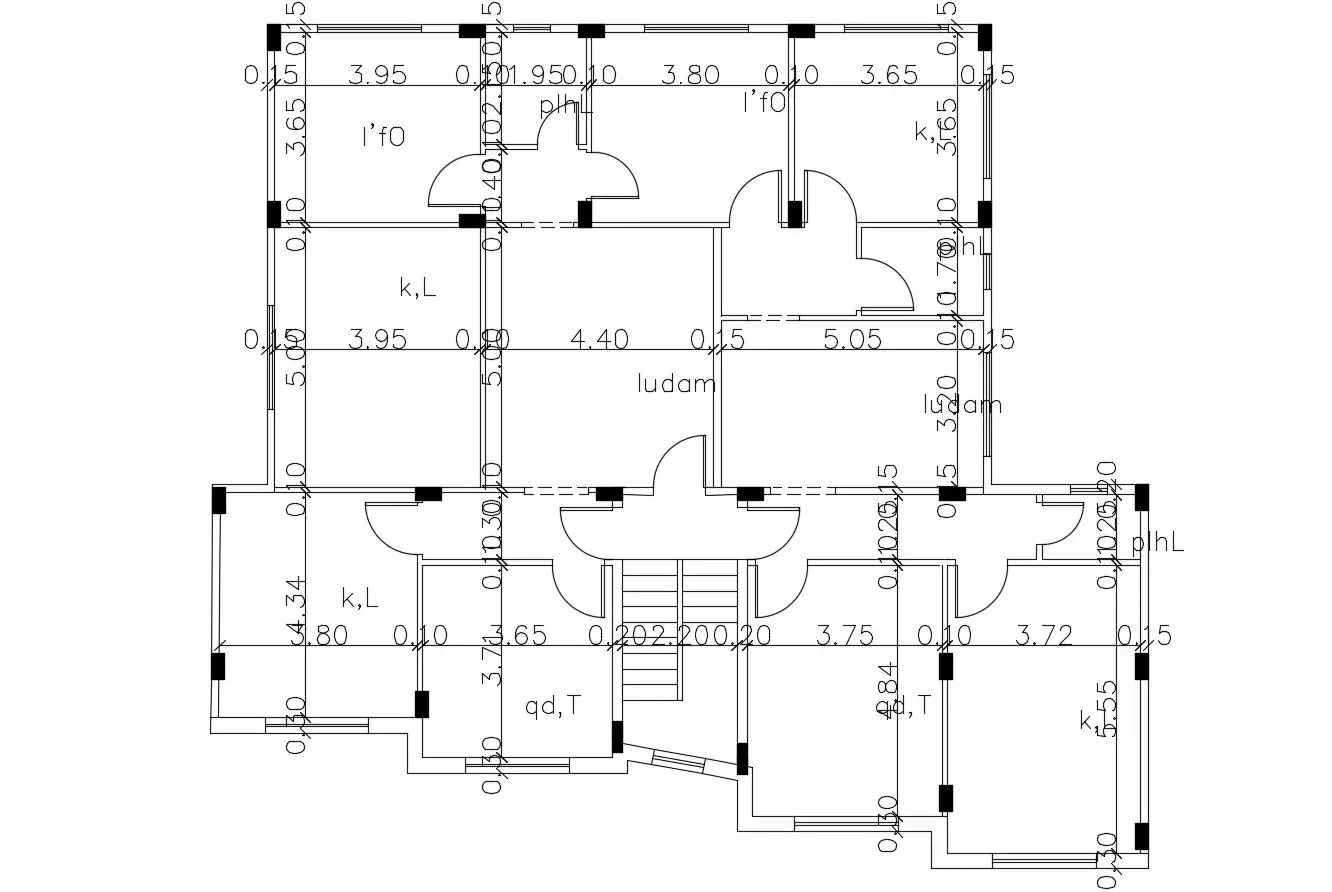 Free Download Building Column Layout Plan CAD Drawing
