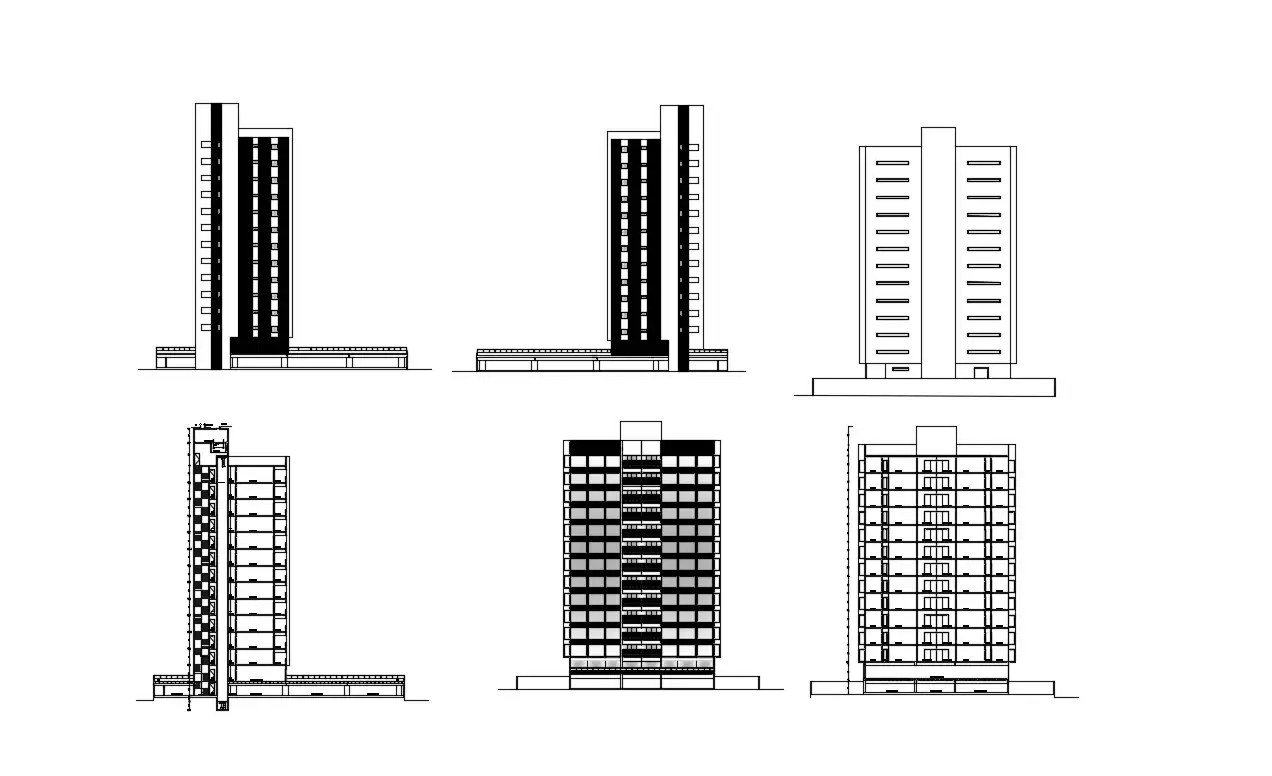 High Rise Building Elevation Designs DWG File Free