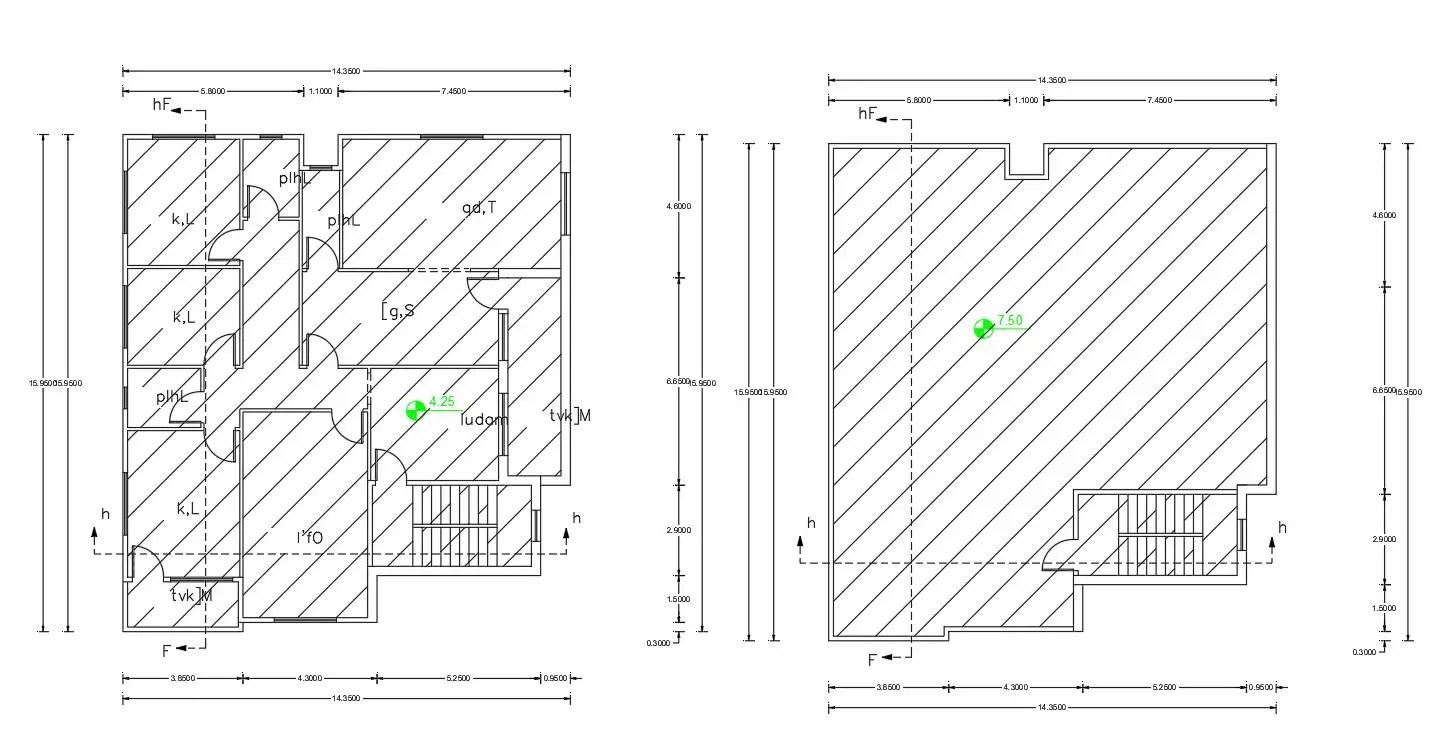 House Plan 50 Feet by 45 Feet Plot Plan AutoCAD Drawing