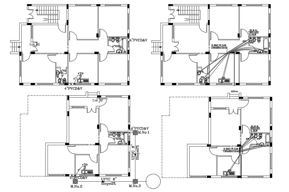 House Plumbing And Drainage Line Layout Plan AutoCAD File