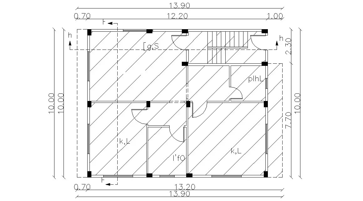 Huge Bungalow Planning With Column Marking Design Autocad