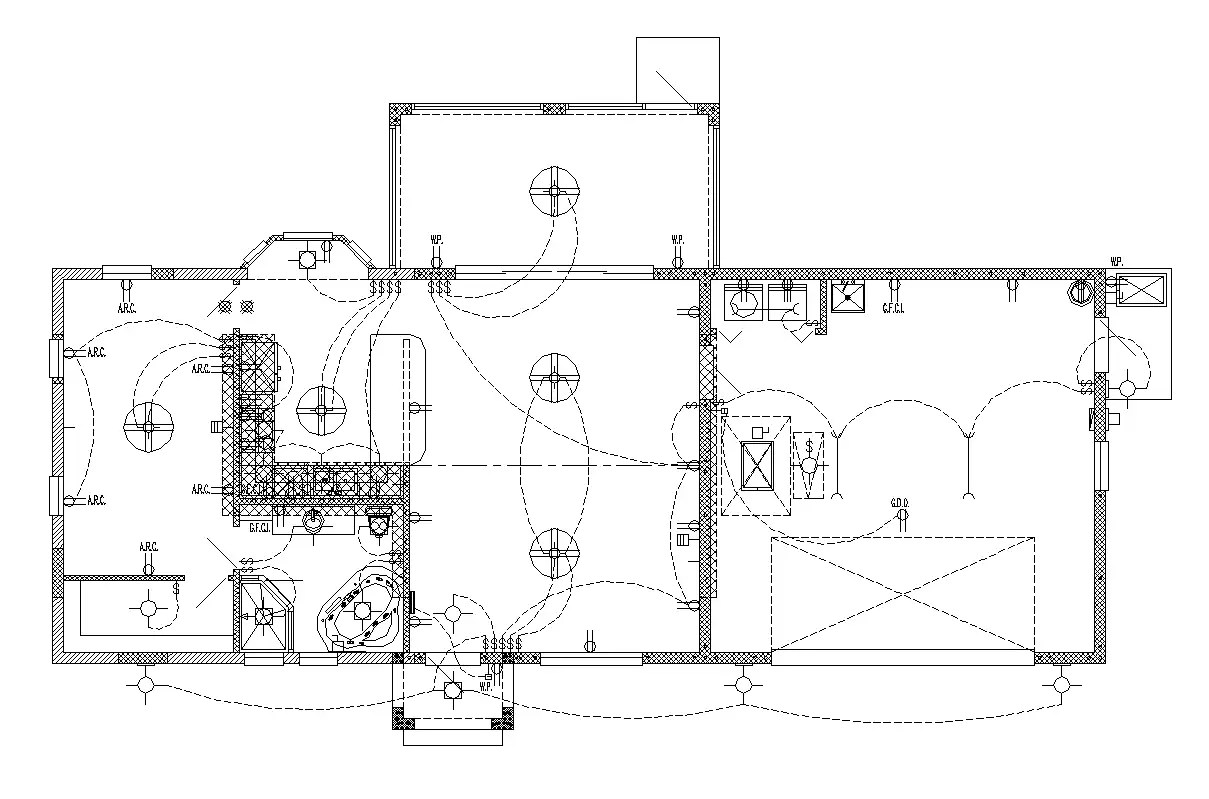 Industrial building electrical installation 2d view layout
