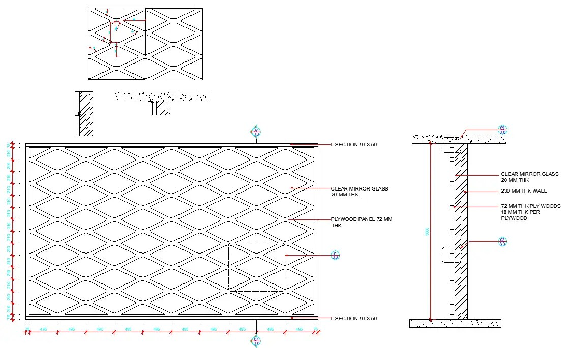 Interior wall design plan and section detail layout file