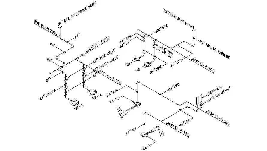 Isometric Pipe Line CAD Drawing Free Download DWG File