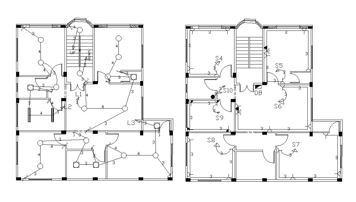 Lavish Bungalow Floor Plan With Electrical Design CAD