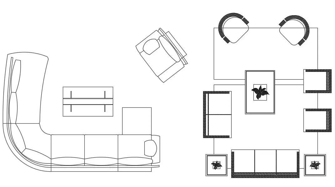 Living Room Furniture Set Up Free CAD Blocks DWG File