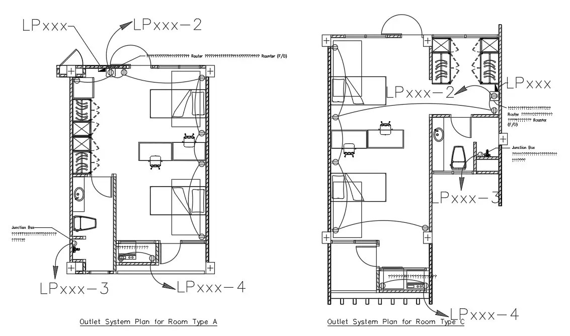 Outlet Electrical System Plan For Room CAD Drawing DWG