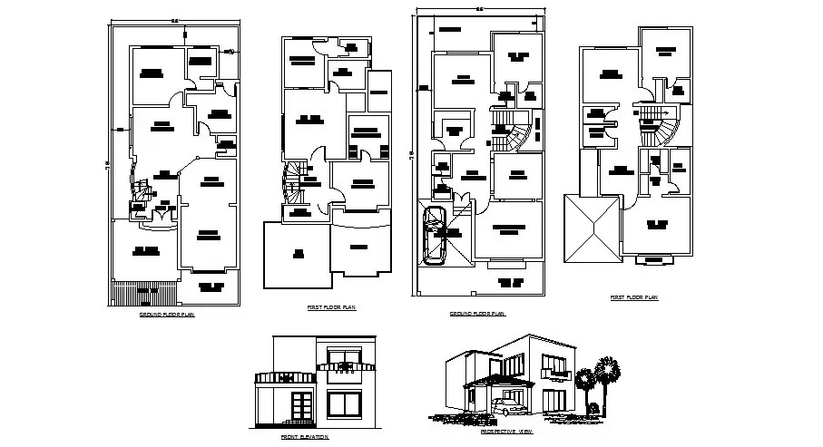 Plan of bungalow 32' x 70' with detail dimension in