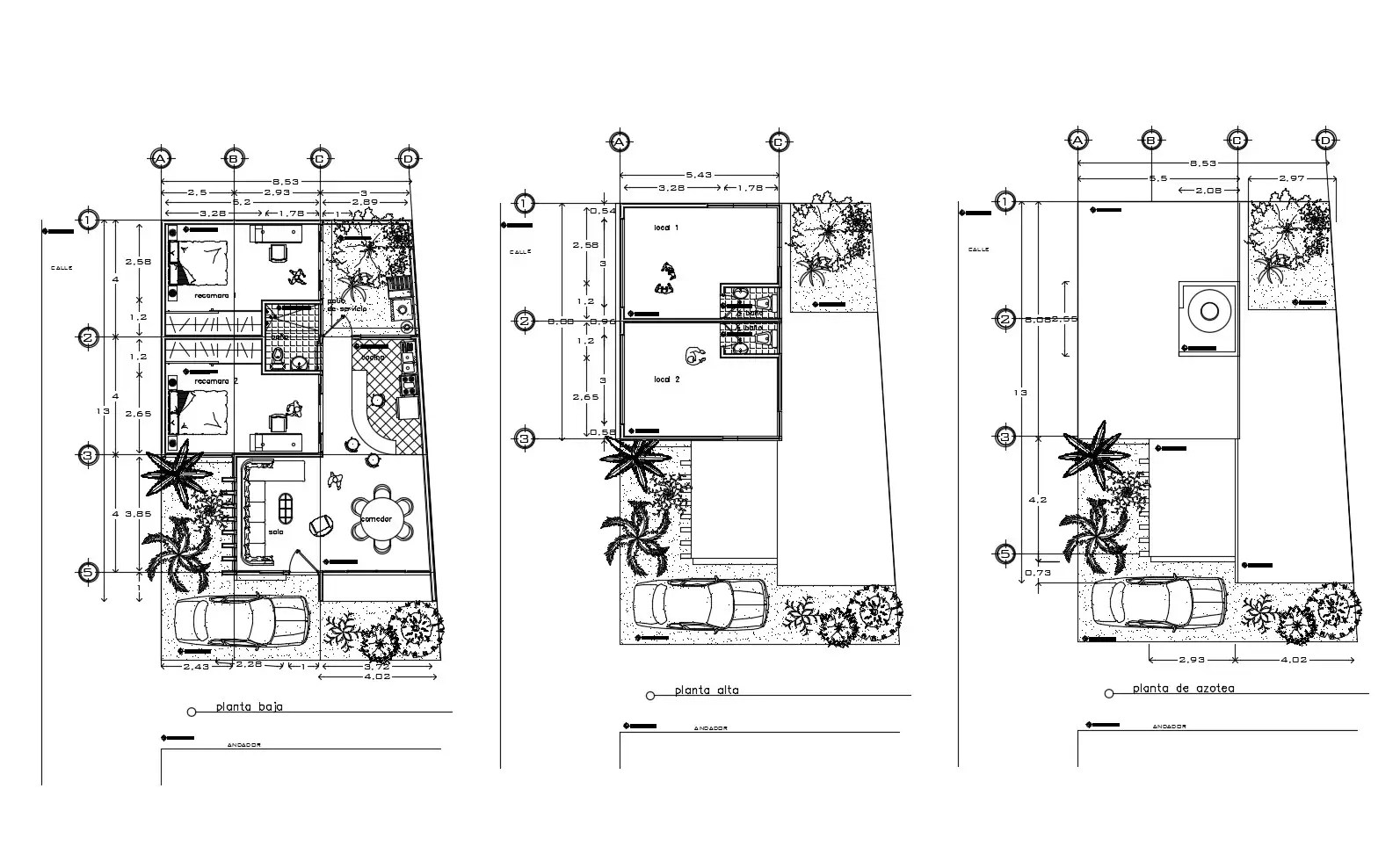 Plan of bungalow 8.53mtr x 13mtr with details dimension in