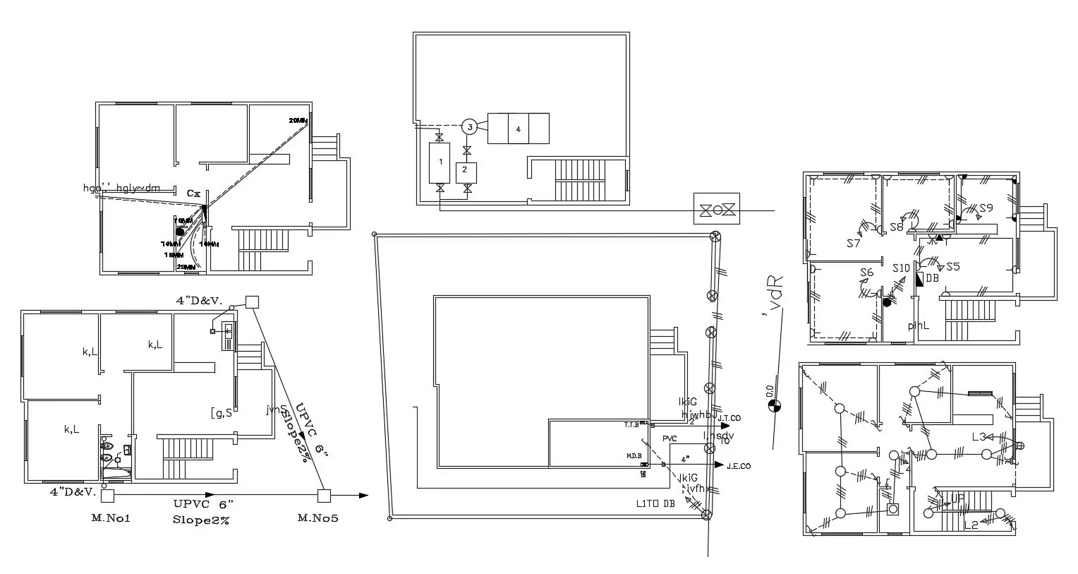 Plumbing And Electrical Layout Plan Cad File