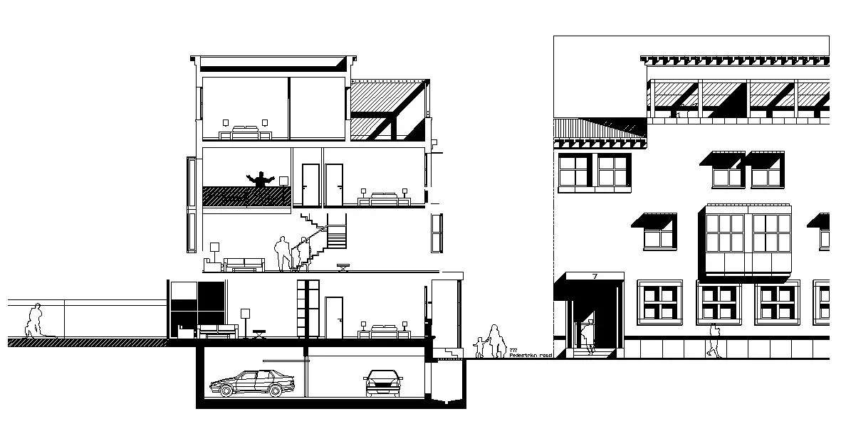 Residential Bungalow Elevation Section AutoCAD File Free