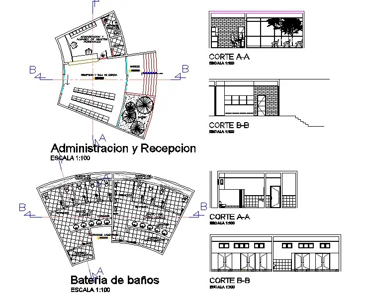 Sectional elevation of Research center and layout plan dwg