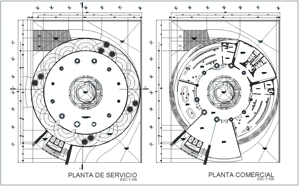 Service and commercial plan for high rise building dwg