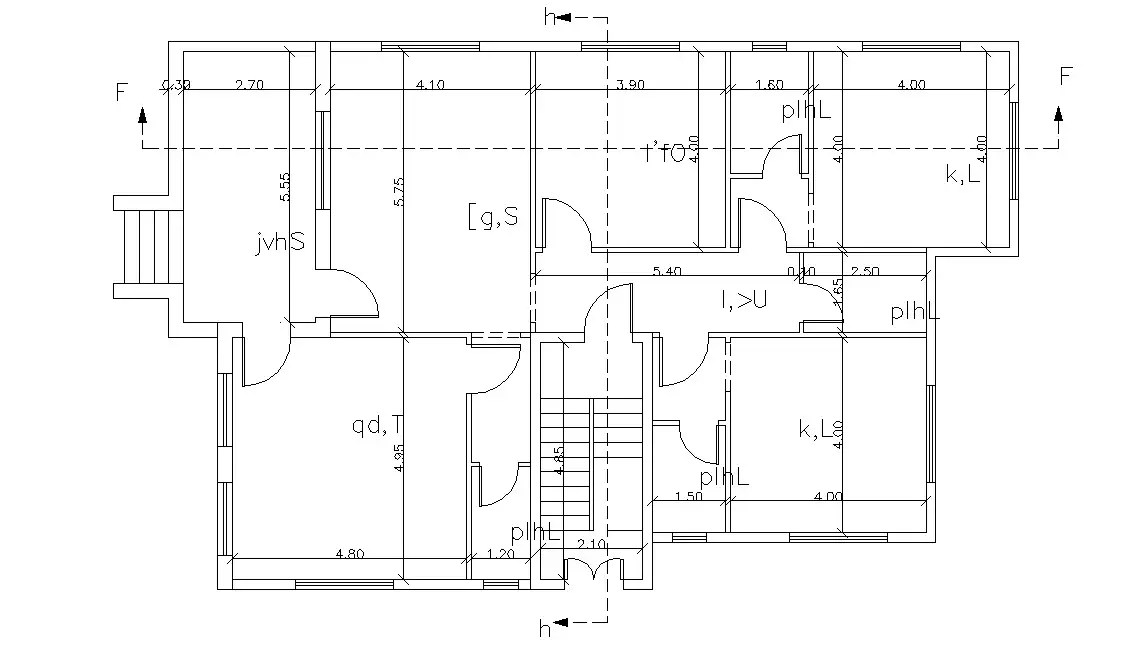 Simple House Floor Plan AutoCAD Drawing With Dimension