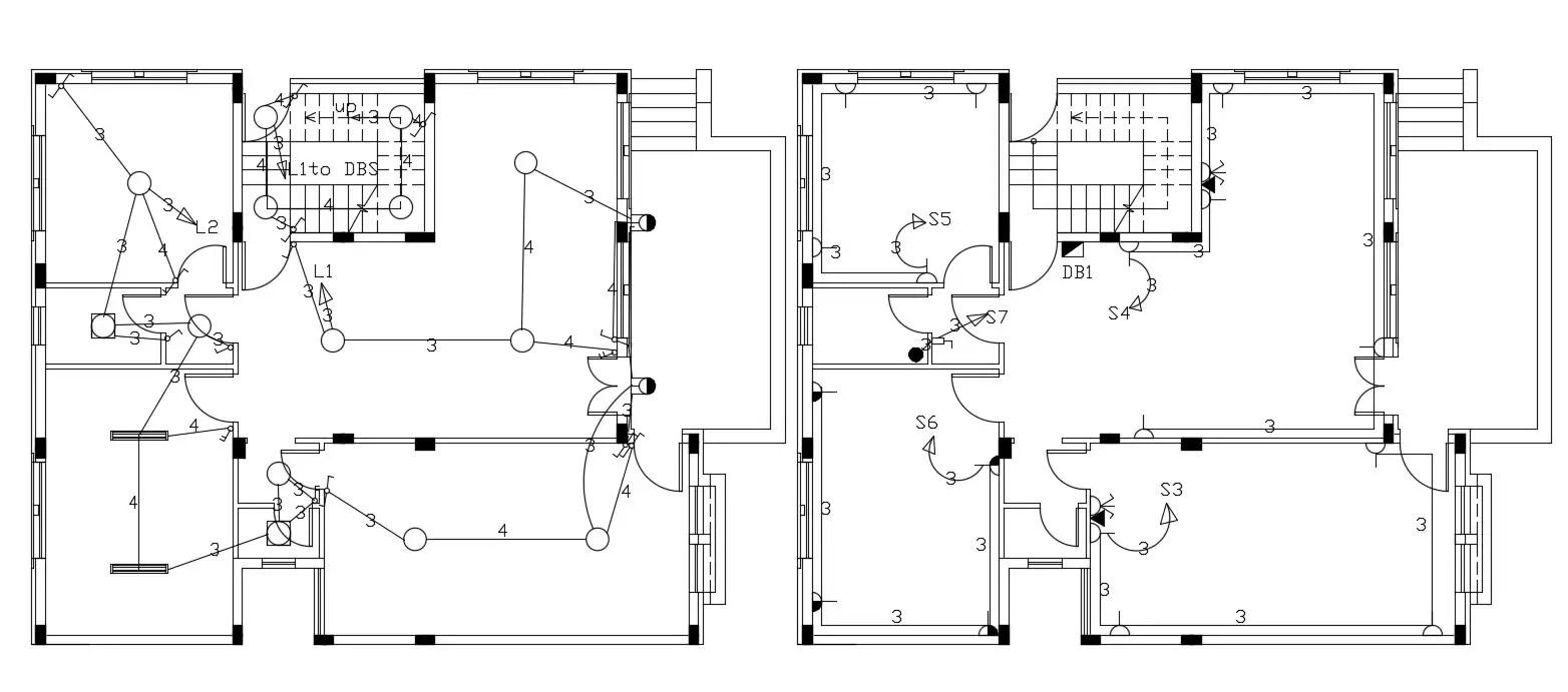 Single Storey 2 BHK House Electrical Layout Plan Design
