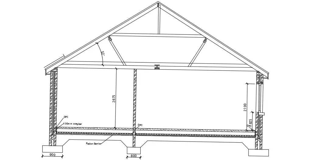 Sloping Roof Section Design With Truss AutoCAD File Free