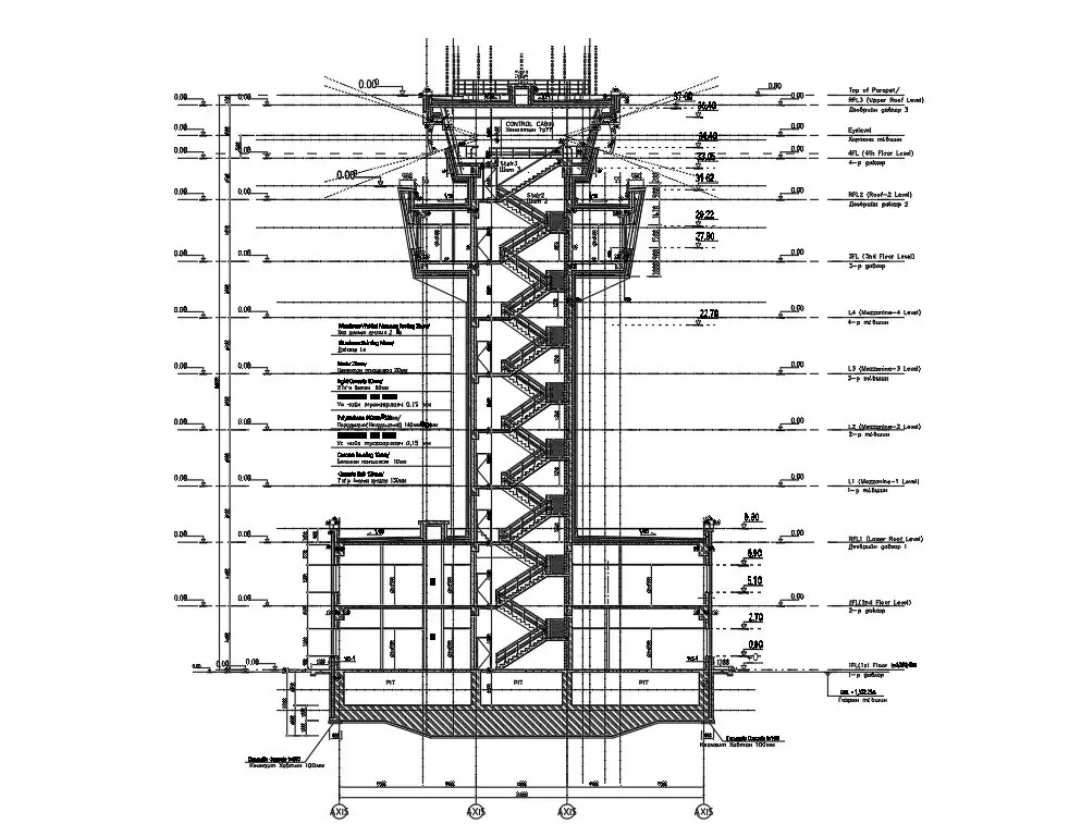 The AutoCAD Drawing DWG 2D file of the Tower side