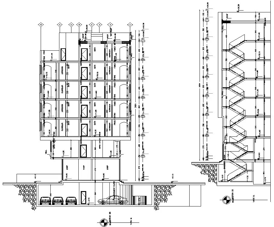 The cad drawing file of G+5 apartment building side