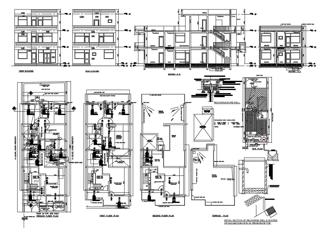 Three level house elevation, section and electrical layout