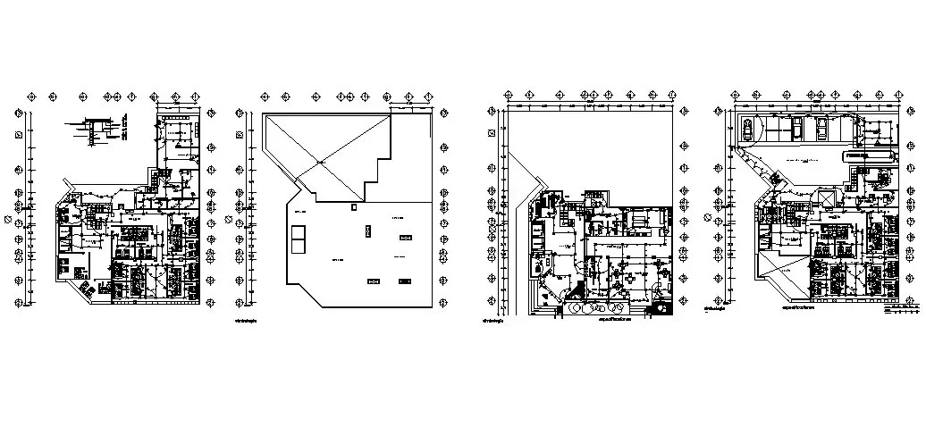 Three star hotel all floors electrical layout plan details