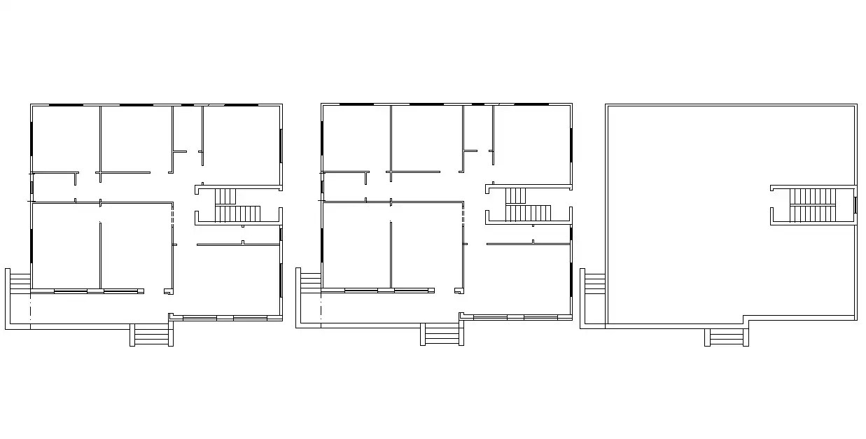 Three Floor Plans of Huge Bungalow Layout DWG Drawing