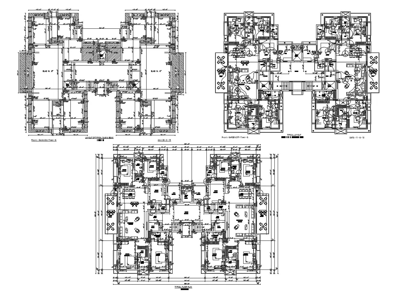 Typical floor plan of apartment 98'8'' x 80'0'' with